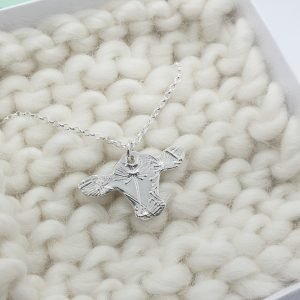 Fine Silver Cow Head Necklace
