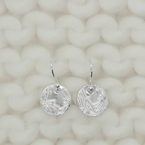Fine Silver Nature Disc Earrings