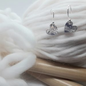Fine Silver Nature Heart Earrings