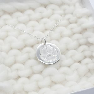 Personalised Single Paw Print Circle Necklace