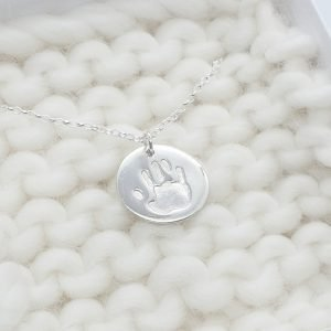 Fine Silver Circle Hand Print Necklace
