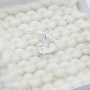 Fine Silver Heart Foot Print Necklace