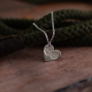 Personalised Double Paw Print Heart Necklace