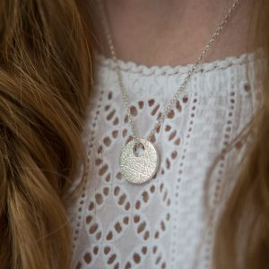 Fine Silver Nature Disc Necklace
