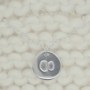 Fine Silver Personalised Single Cow Hoof Print Circle necklace
