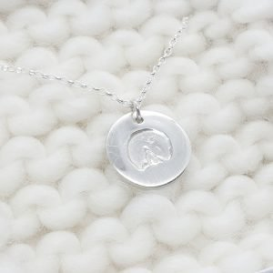 Fine Silver Personalised Horse Hoof Print Circle Necklace