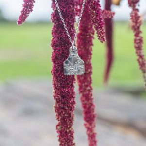 Floral Silver Tag Necklace