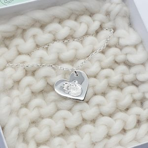 Fine Silver Heart Hand Print  Necklace