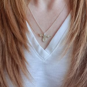 Floral Silver Bee Necklace