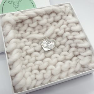 Personalised Double Paw Print Heart Pendant only, no chain.