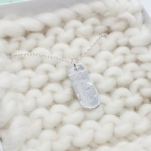 Fine Silver Dimple Textured Dog Dummy Style necklace