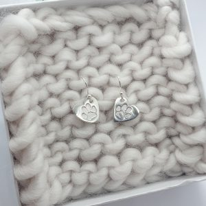 Personalised Paw Print Heart Earrings