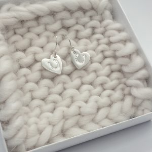 Fine Silver Horseshoe Heart Earrings