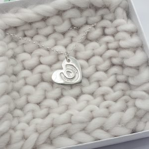 Initial only Personalised Fine Silver Horseshoe Heart Pendant Necklace