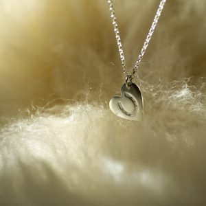 Fine Silver Horseshoe Heart Pendant Necklace